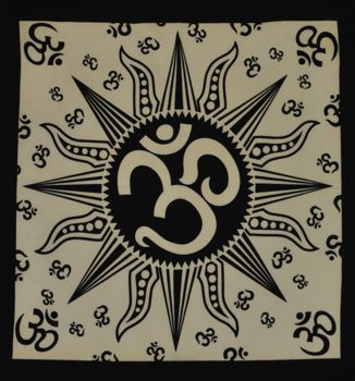 Bandana - Black and White Sun Om