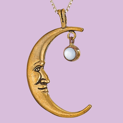 Bronze Moon with Pearl Pendant