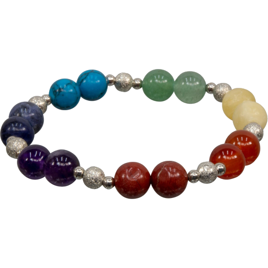 Chakra Bracelet with Silver Colored Beads