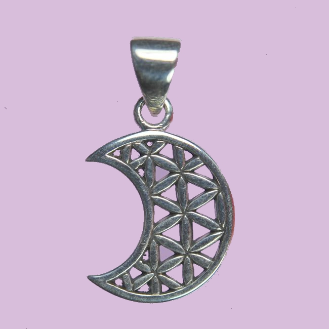 Crescent Moon Flower of Life Pendant