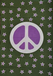 Purple and Green Peace with Stars Single Size 60x90