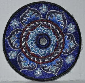 Lotus with Mirror - Dark Blue Patch