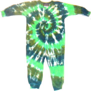 Long Sleeve Unionsuit Green Spiral