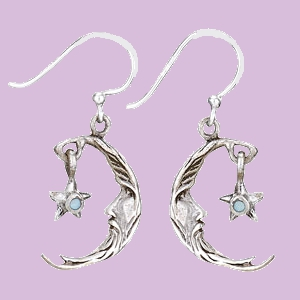Moon with Hanging Star Earrings