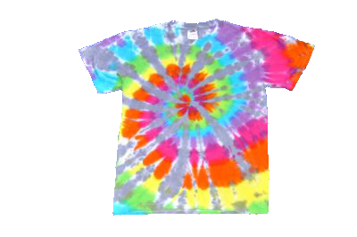Short Sleeve Rainbow Spiral with Ice Blue