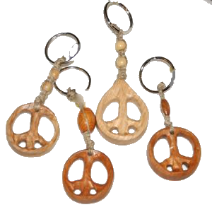 Wooden Peace Sign Keychain