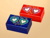 Two Hearts Small Wood Box
